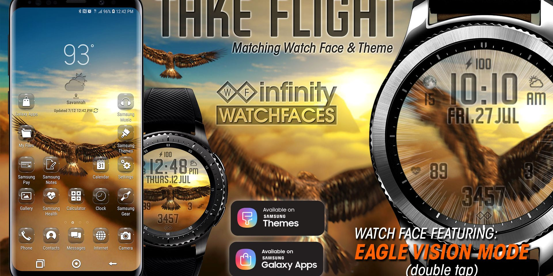 Take Flight Watch Face & Matching Theme for Samsung Galaxy Watch