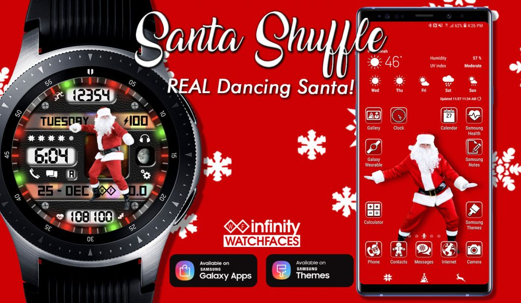Santa shuffle watch face and theme for samsung galaxy