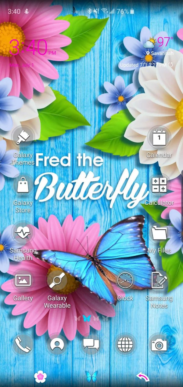 Fred the Butterfly Theme for Samsung Galaxy S10 and Galaxy Note 10