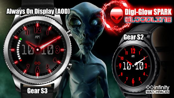 Digi-Glow Bloodline Best Watch face for Samsung Galaxy Active and Galaxy Watch