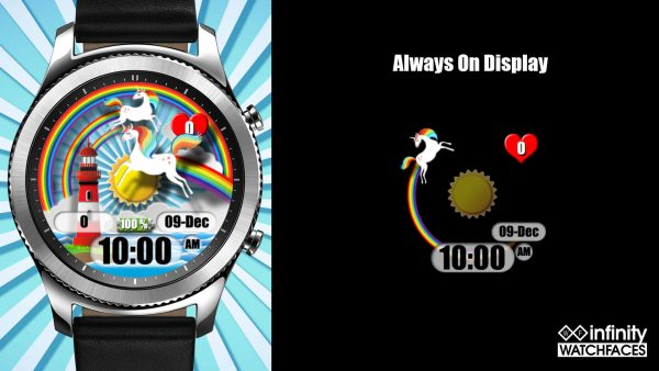 Epic Unicorns Tooting Rainbows Watch Face for Samsung Galaxy Watch and Galaxy Active
