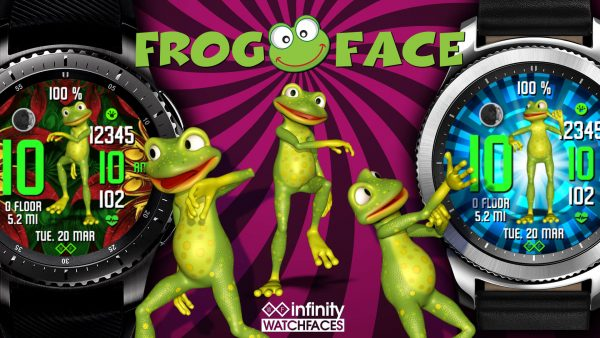 Frog Face Animated Watch Face for Samsung Galaxy Watch and Galaxy Active