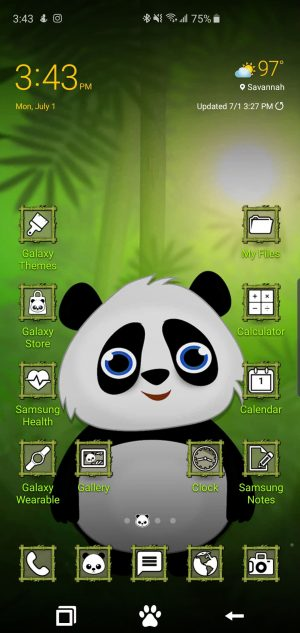 Happy Panda Nature FREE Theme for Samsung Galaxy S10 and Galaxy Note 10