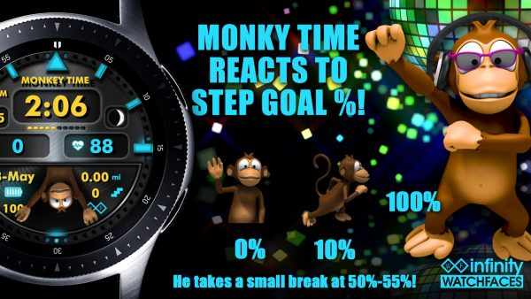 Monkey Time Watch Face for Samsung Galaxy Watch and Galaxy Active