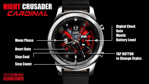 Night Cruader Cardinal watch face for Samsung Galaxy Watch and Active