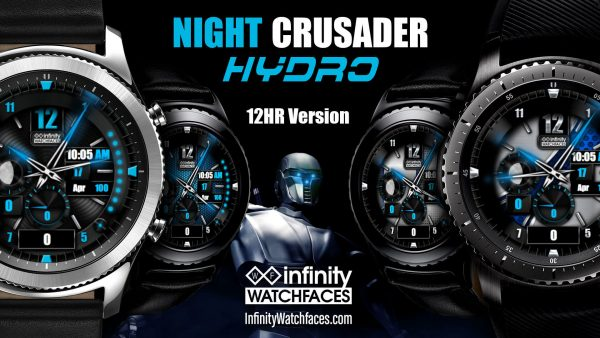 Best watch faces for the Samsung Galaxy Watch, Galaxy Active and Gear S3. Night crusader Hydro Watch Face for the Samung Galaxy Watch