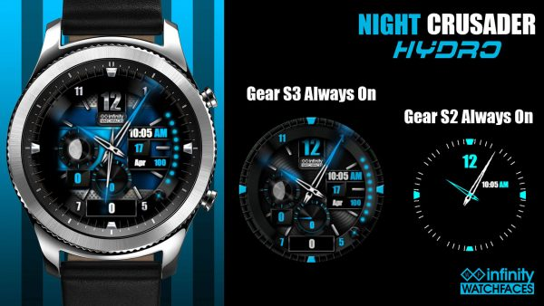 Night crusader Hydro Watch Face for the Samung Galaxy Watch