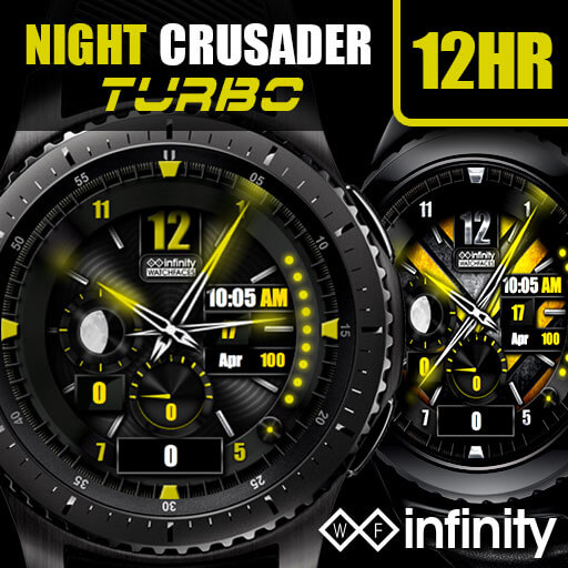 Night Crusader Turbo watch face for Samsung Galaxy Watch and Active
