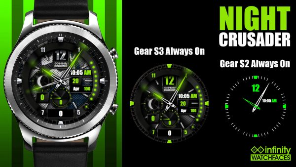 Night Crusader watch face for Samsung Galaxy Watch, Gear S3 and Galaxy Active
