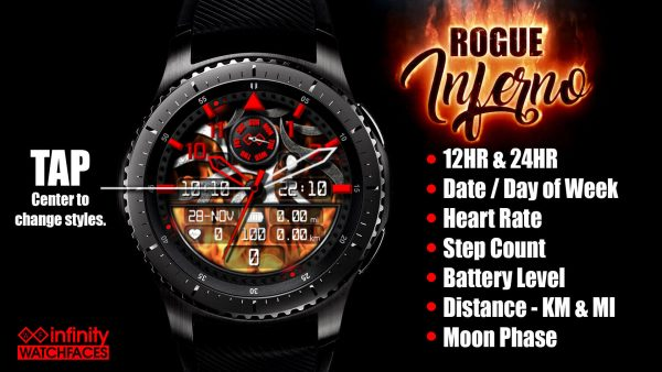 Rogue Elite Fire Watch Face for Samsung Galaxy Watch and Galaxy Active