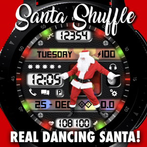 Santa Shuffle Christmas Watch Face for Samsung Galaxy Watch 2 and Galaxy Active 2
