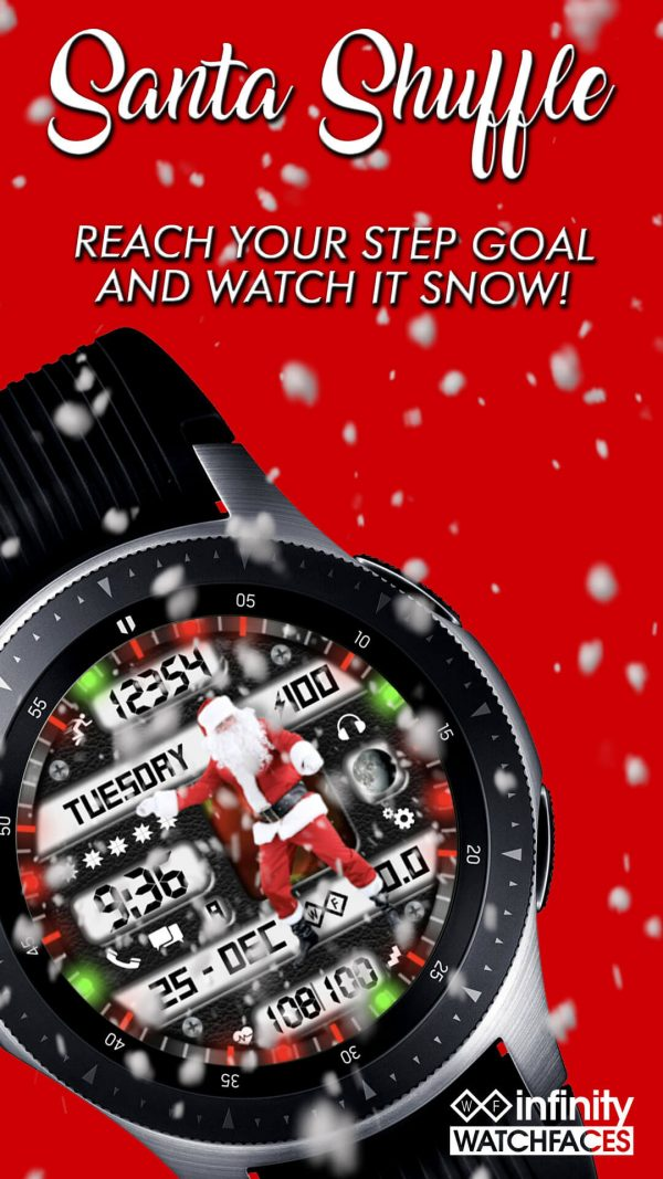 Santa Shuffle Christmas Watch Face for Samsung Galaxy Watch and Galaxy Active