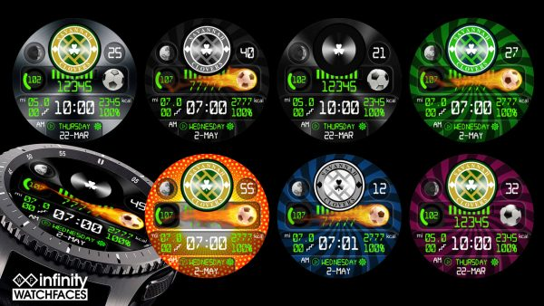 Savannah Clovers Soccer Watch Face for Samsung Galaxy Watch and Galaxy Active