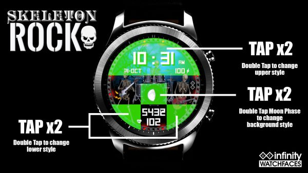 Skeleton Rock Watch Face for the Samung Galaxy Watch and Galaxy Active.Great watch face for Halloween.