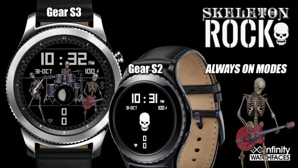 Skeleton Rock Watch Face for the Samung Galaxy Watch and Active